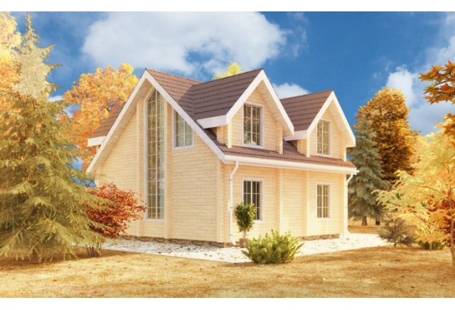 Проект 8-134-б: Дом из бруса 8×8
