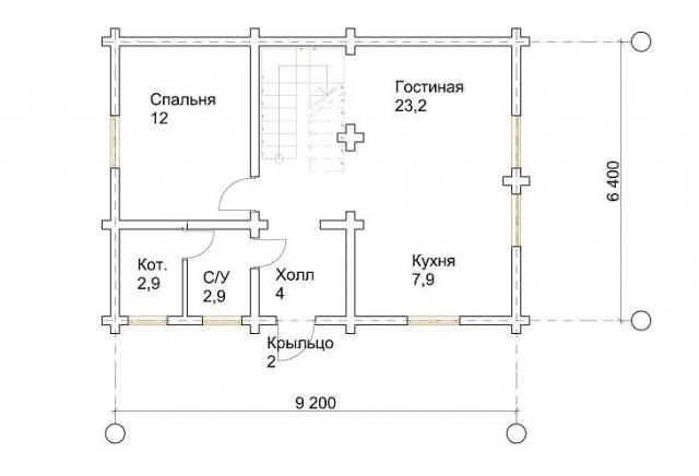 Проект 8-95-б: Дом из бруса 9×6